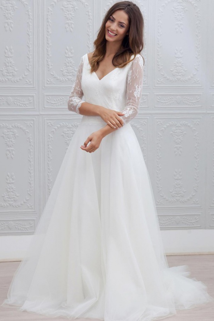 A Line V Neck Open Back 3 4 Sleeves Beach Wedding Dress With