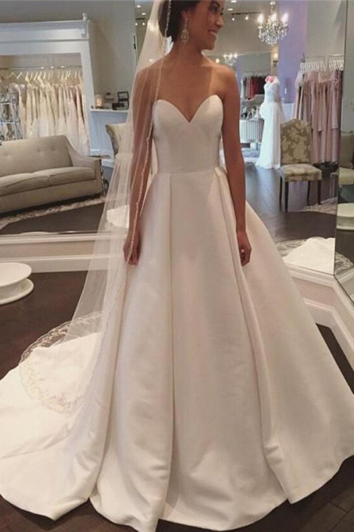 A Line Sweetheart Court Train Ivory Satin Wedding Dress With Pleats Wisebridal Com