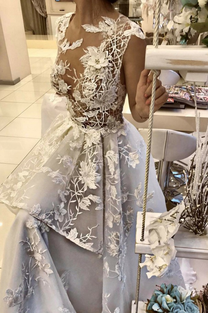 A-Line Illusion Jewel Light Grey Wedding Dress with Appliques Lace ...
