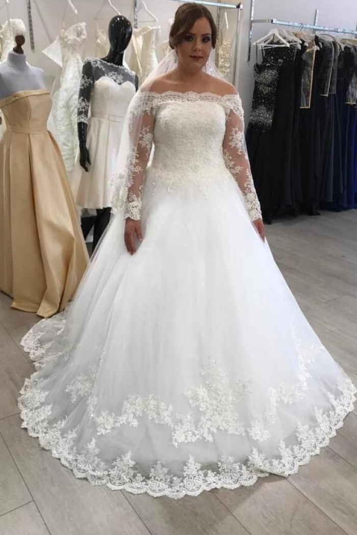A Line Off The Shoulder Long Sleeves Lace Boho Wedding Dress