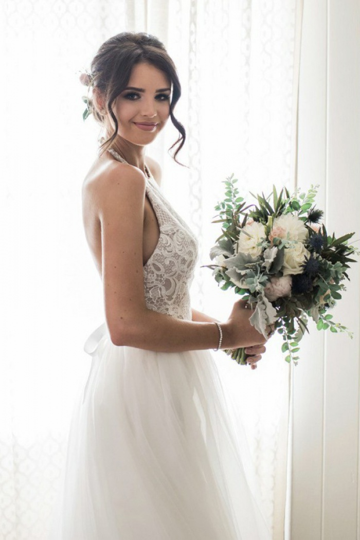 A Line Halter Backless Court Train Tulle Wedding Dress With Lace