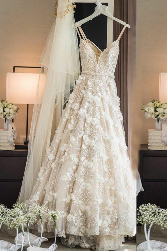 A Line Spaghetti Straps Sweep Train Ivory Lace Wedding Dress With