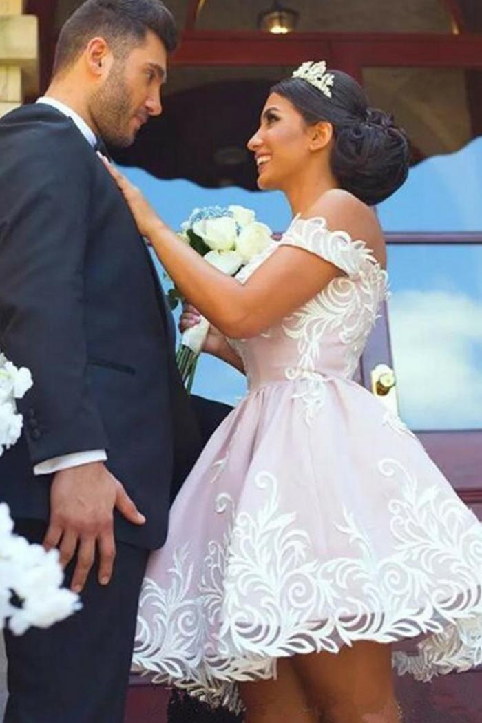 Pink Satin Wedding Dress