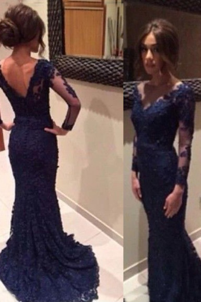 3ddf98371a27b Mermaid V-neck Long Sleeves Navy Blue Lace Prom Dress with Appliques ...