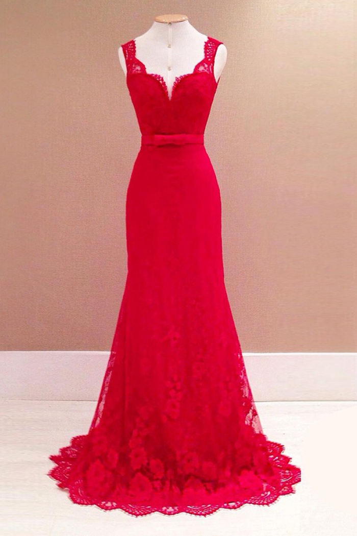 Mermaid Scoop Sweep Train Backless Red Lace Prom Dress