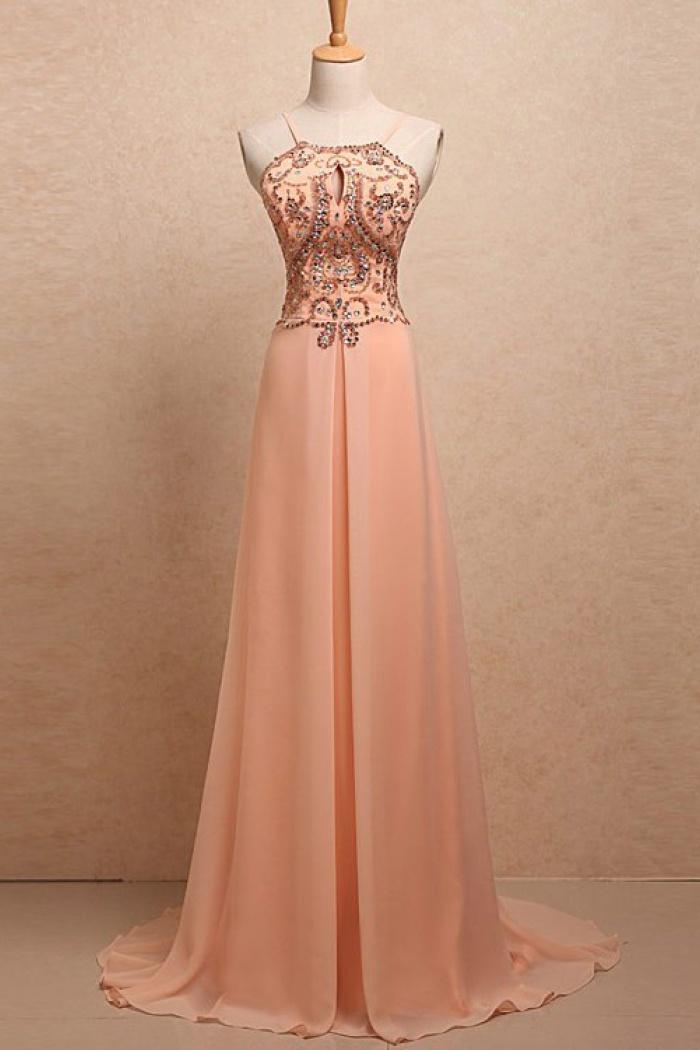 A-Line Halter Spaghetti Straps Sweep Train Peach Chiffon Prom Dress ...
