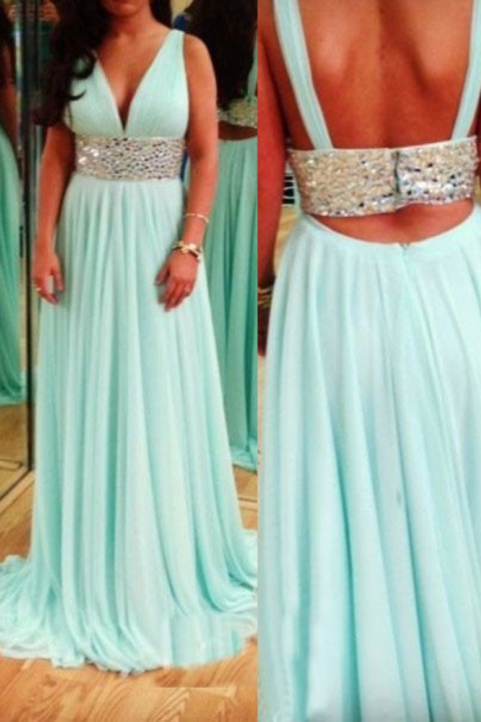 790137460e00 A-Line V-Neck Sweep Train Backless Mint Chiffon Prom Dress with Beading  Waist