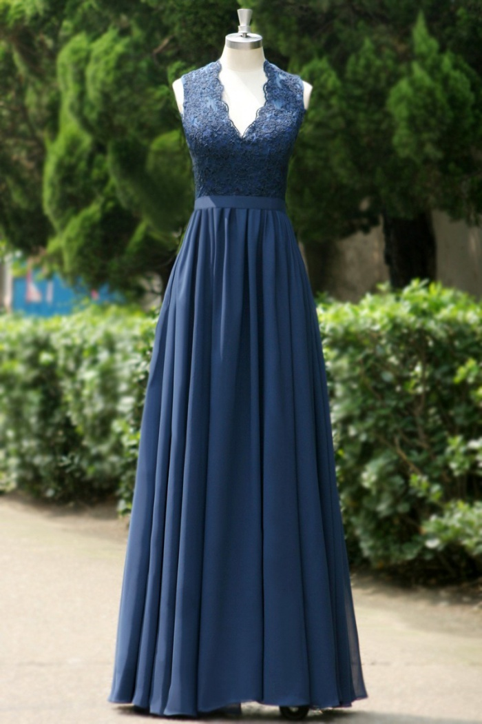 cb204f2b13a7 Simple Dress Royal Blue Chiffon Long Prom Dresses, V-neck Open-back Prom