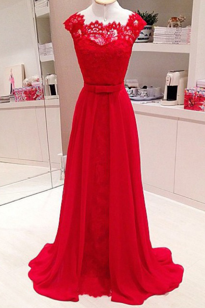 Line Scalloped Edge Cap Sleeves Floor Length Red Prom Dress Lace Top Wisebridal