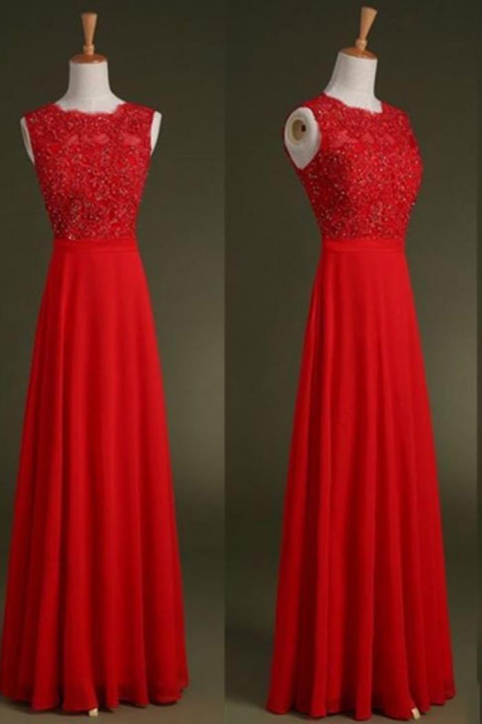 Simple Dress Elegant A Line Beading Long Red Chiffon Prom Dresses Chpd 7141 0