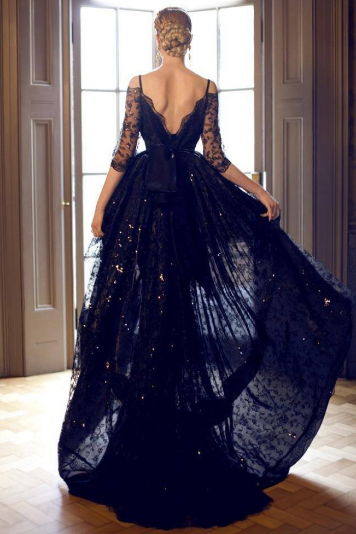 71f4a6c92f0d6 A-line Spaghetti Straps Lace High-low Black Evening/Homecoming/Prom Dress  With Half Sleeves