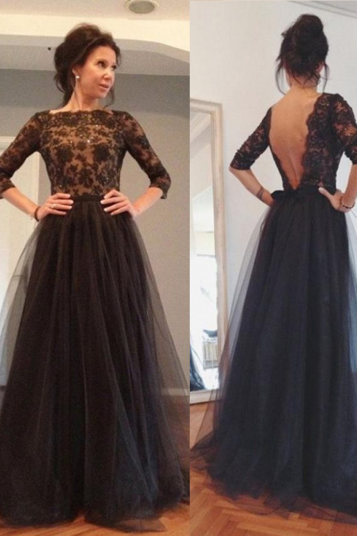 f94fb47b0a8 A-Line Bateau 3 4 Sleeves Backless Black Tulle Prom Dress with Beading 0