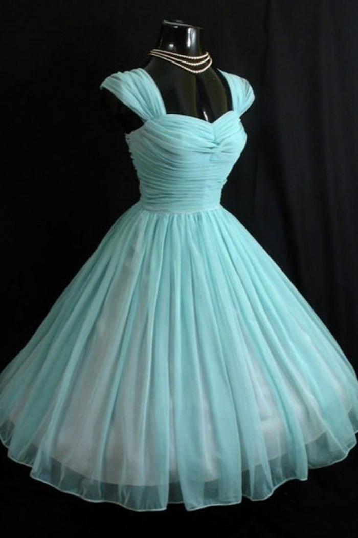 Vintage Sweetheart Turquoise Short 50s Chiffon Cap Sleeves