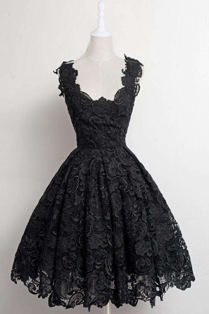 A Line Scalloped Edge Knee Length 50s Vintage Black Lace Prom