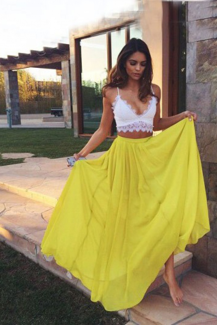 ddc90fd96 Sexy Two piece White Top Yellow Skirt V-neck Sleeveless Chiffon Long Prom  Dress 0