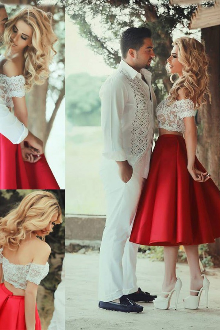 16a45a66f0f38 Two Piece Off-the-Shoulder Tea-Length Red Satin Prom Dress with Lace ...