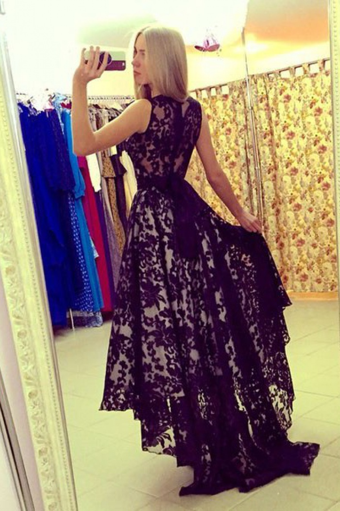 Elegant Scoop Black Lace High Low Prom Dresses Party Gowns With
