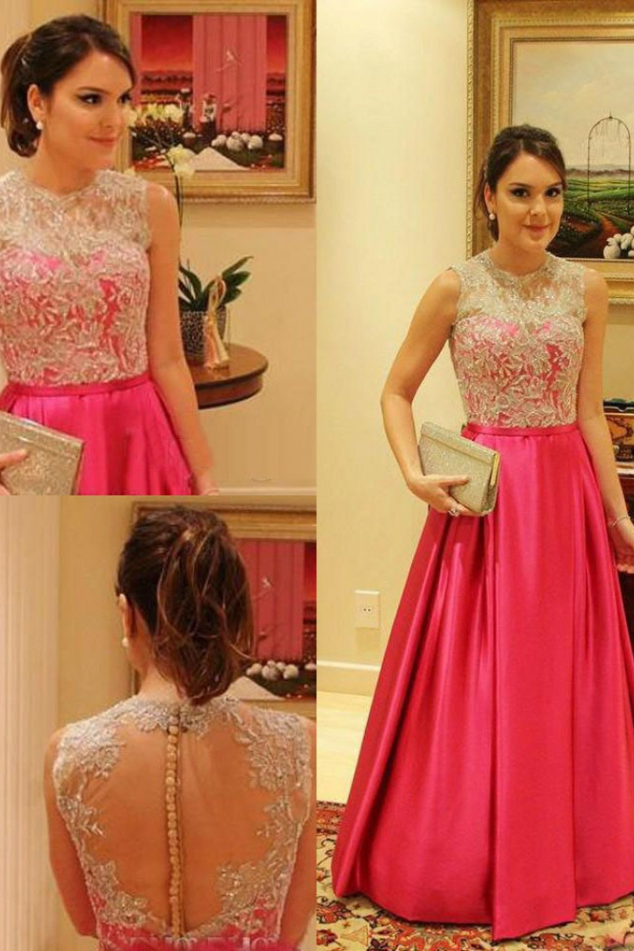 652f02eb4b5 Gorgeous Crew Sheer With Lace Appliques A-line Satin Prom Dresses Formal  Evening Gowns SAPD
