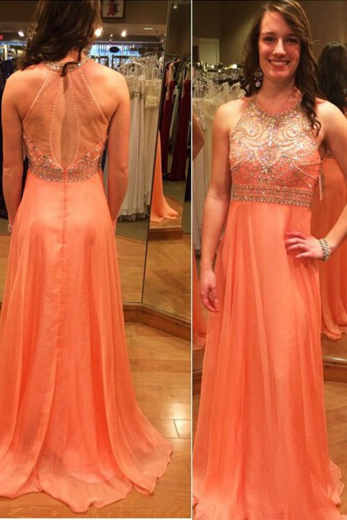 New Modern A-line Long Chiffon Empire Backless Coral Prom Dress With ...