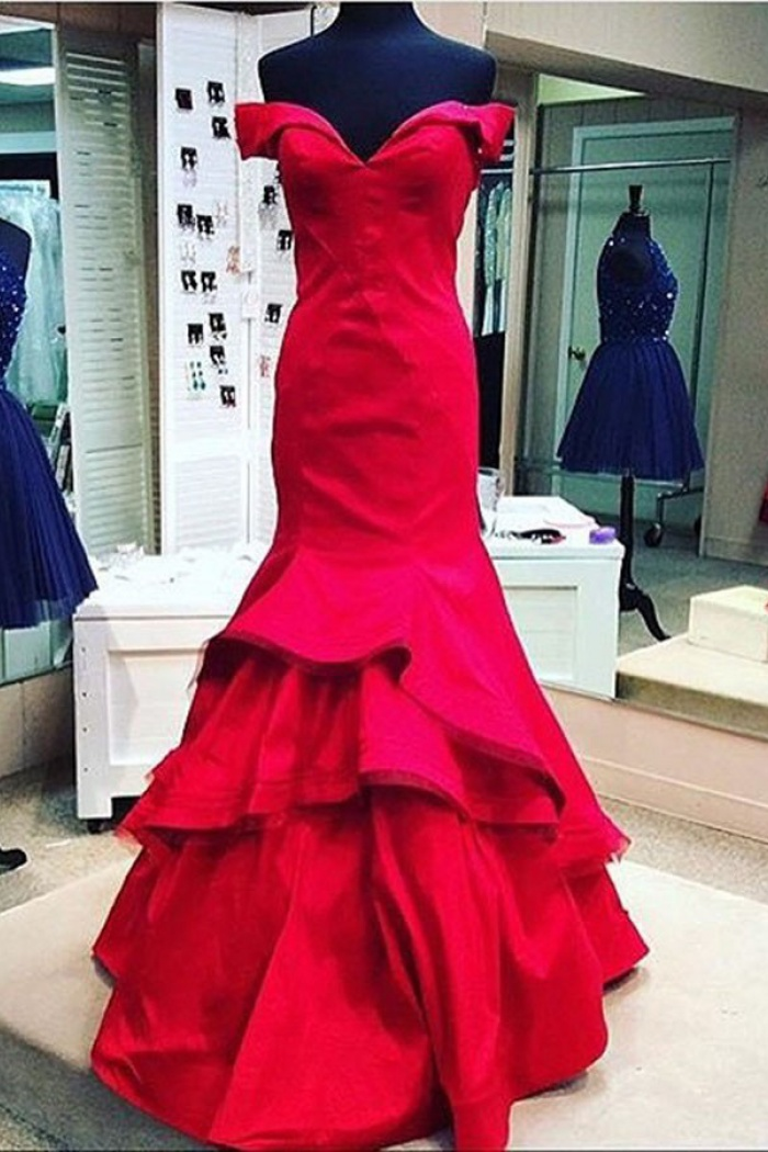 Elegant Mermaid Red Off-shoulder Long Stain Red Prom/Evening Dress ...