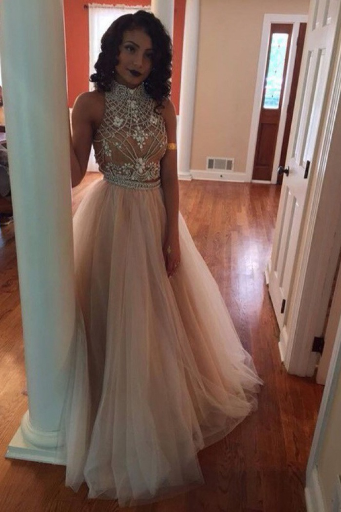 5070b2bb5983c9 Hot-Selling High Neck Champagne Backless Tulle A-Line Two Piece Prom Dress  with