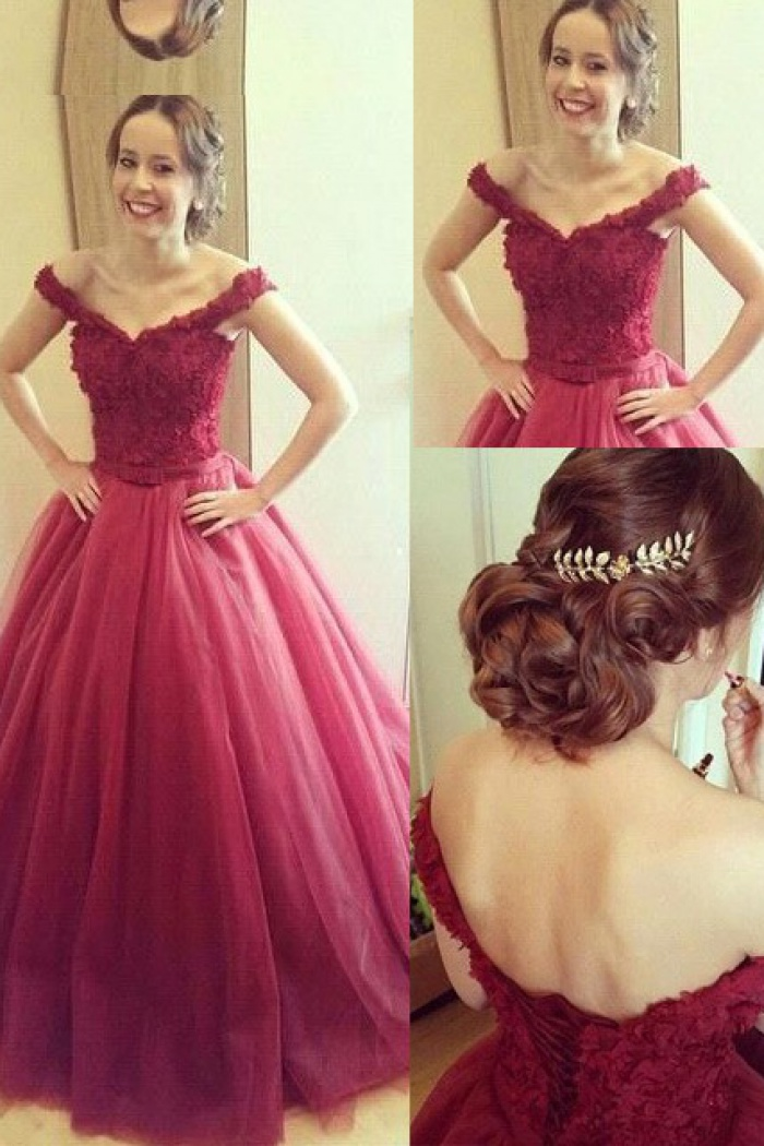 fe7cbeda2339 A-line Off shoulder Lace-up Long Prom Dress-Tulle Prom   Quinceanera ...