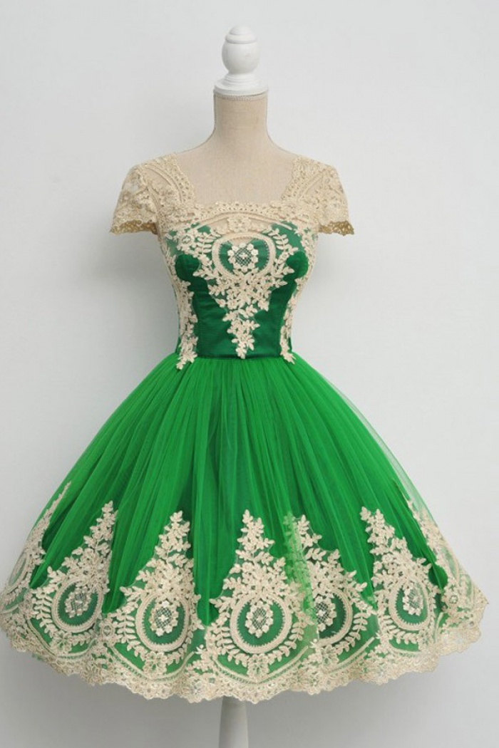 Vintage Ball Gown Cap Sleeves Green Prom Dress With Appliques ...