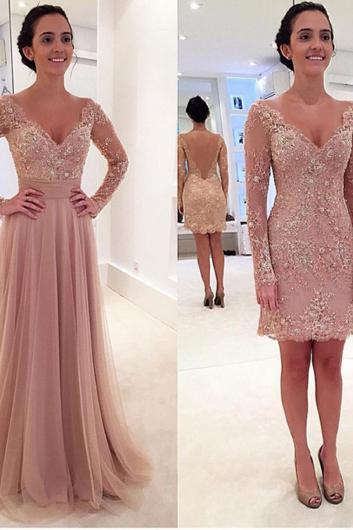 348062135c429 A-Line Deep V-Neck Sweep Train Long Sleeves Blush Tulle Prom Dress with