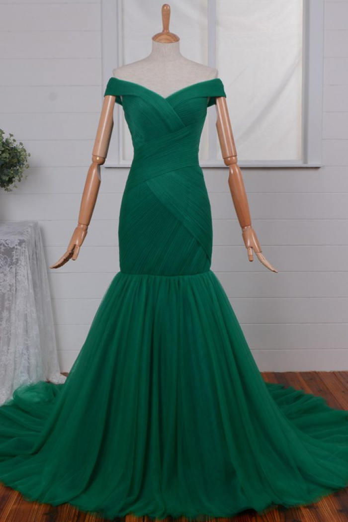 545052aa01ca Off-shoulder Ruched Mermaid Prom dress-Dark Red Tulle Long Prom Dress 1