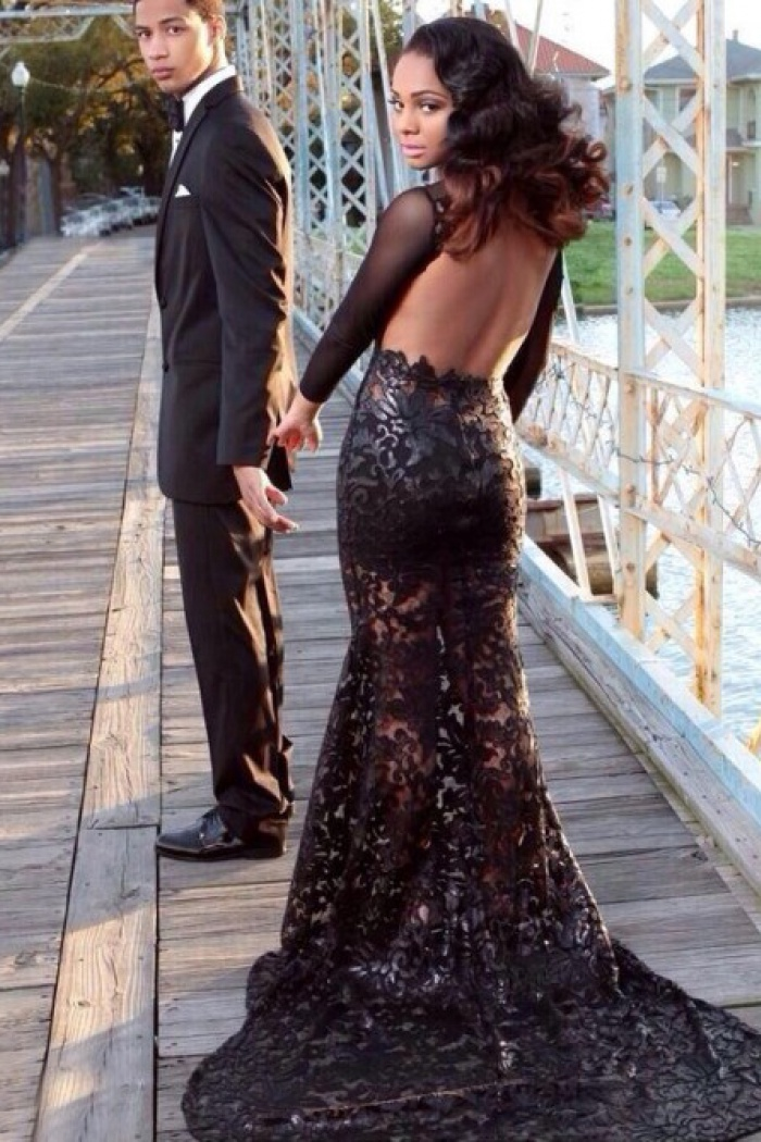 Sexy Backless Mermaid Black Lace Long Sleeves Prom Dress With Court