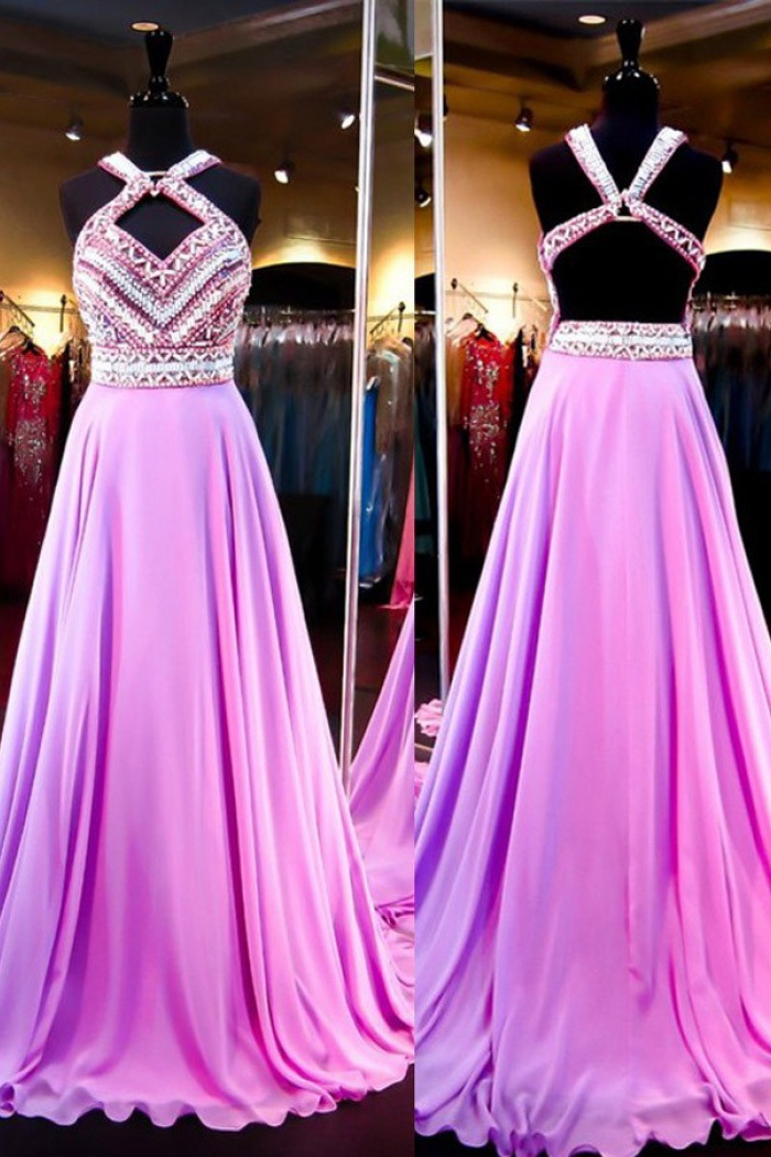029ea8842d Sexy A-Line Halter Court Train Purple Prom Dress With Beading ...