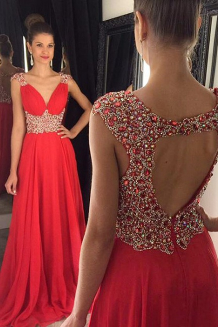 Elegant A-Line V-Neck Sweep Train Red Prom Dress/Evening