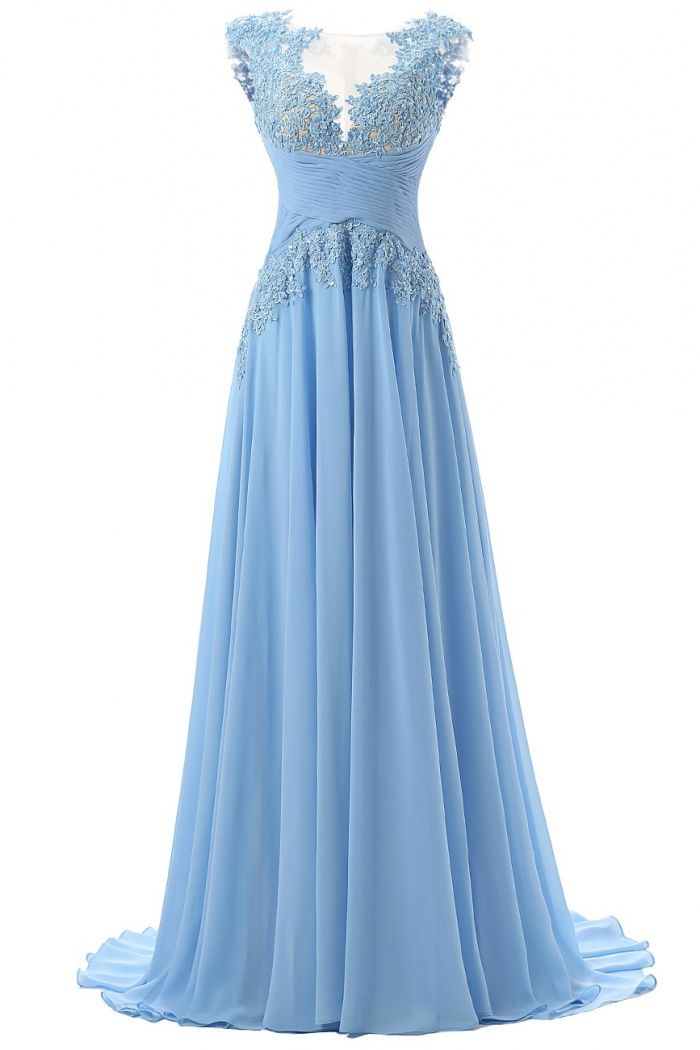 Fashion Scoop Appliques A Line Chiffon Light Blue Prom
