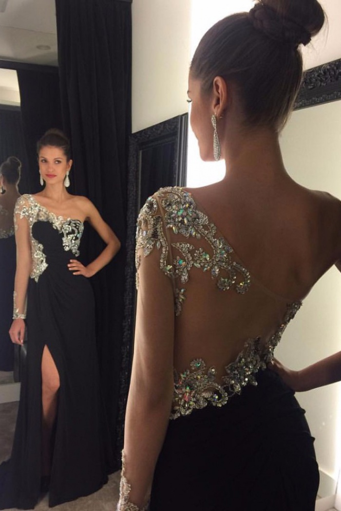 Gorgeous Black Long Prom Dress Sheer Single Sleeves With Side Slit