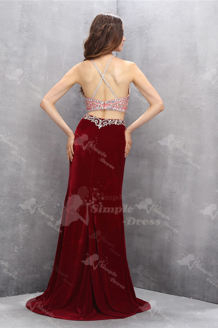 Two Piece Jewel Criss Cross Straps Wine Red Velvet Prom Dress With