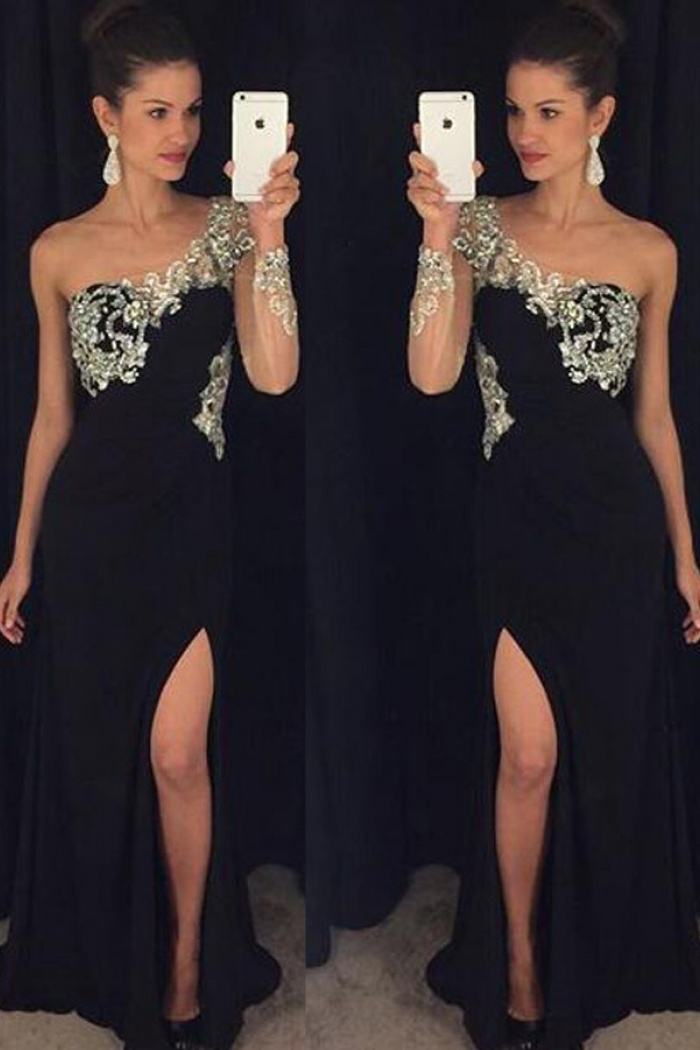 bbcc9ef42559 A-Line One-Shoulder Long Sleeves Black Prom Dress with Beading ...