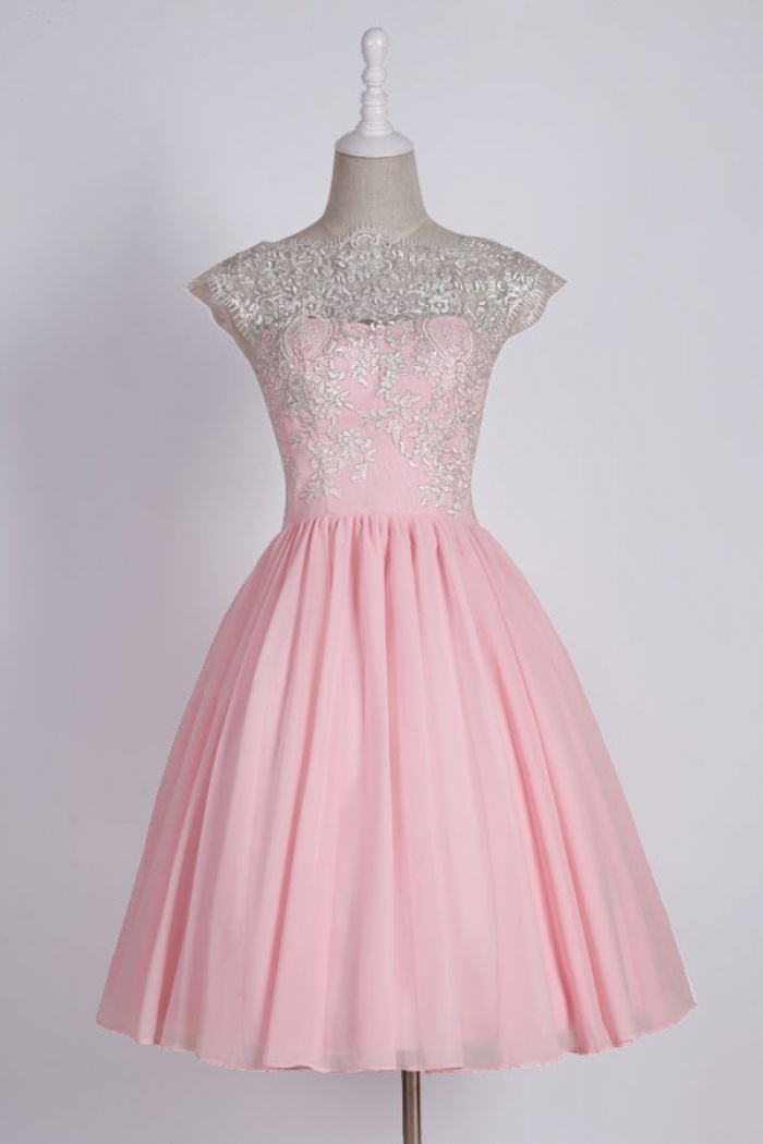 Simple Scalloped Edge Cap Sleeves Short Pink Prom Dress With Lace Top