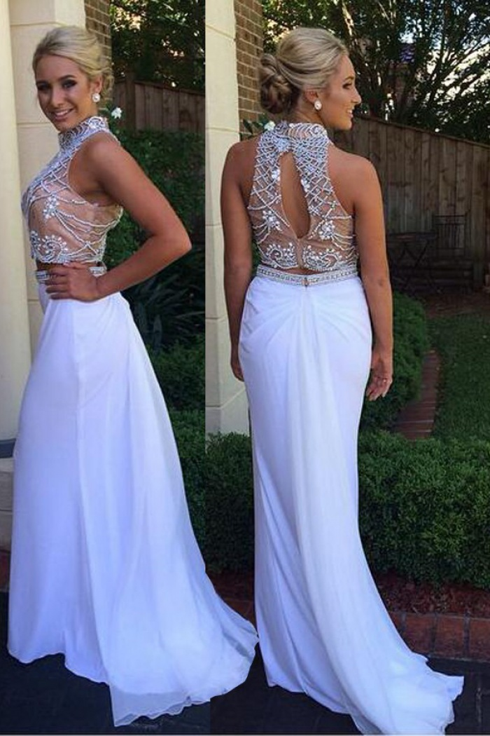 9853cf05e24f47 Mermaid High Neck Sweep Train Open Back White Prom Dress with Beading 0