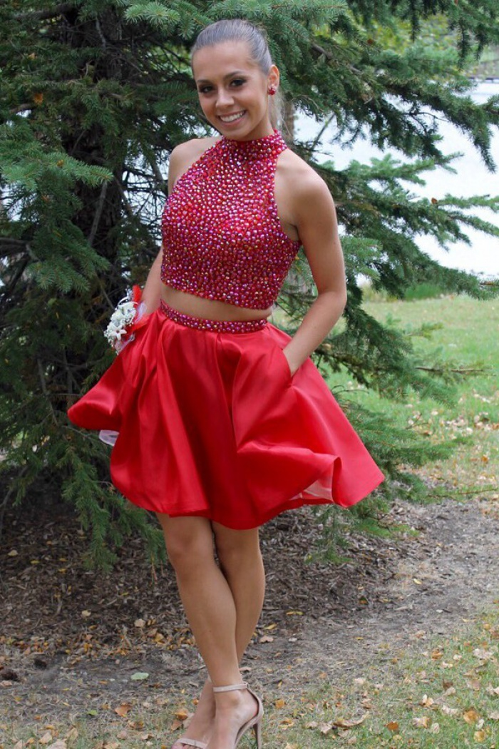 Stylish Two Piece High Neck Short Red Prom Dress Beading with Pockets 0 1da06d98f