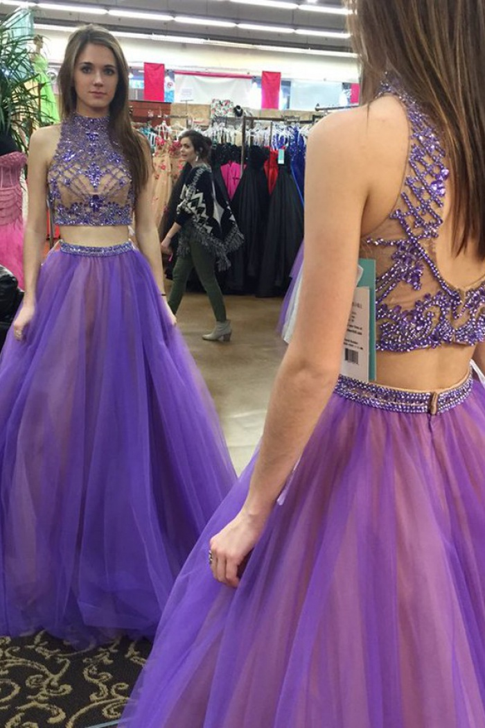 bb82c96f3a2f6 Two Piece High Neck Floor-Length Open Back Lavender Prom Dress with Beading  0
