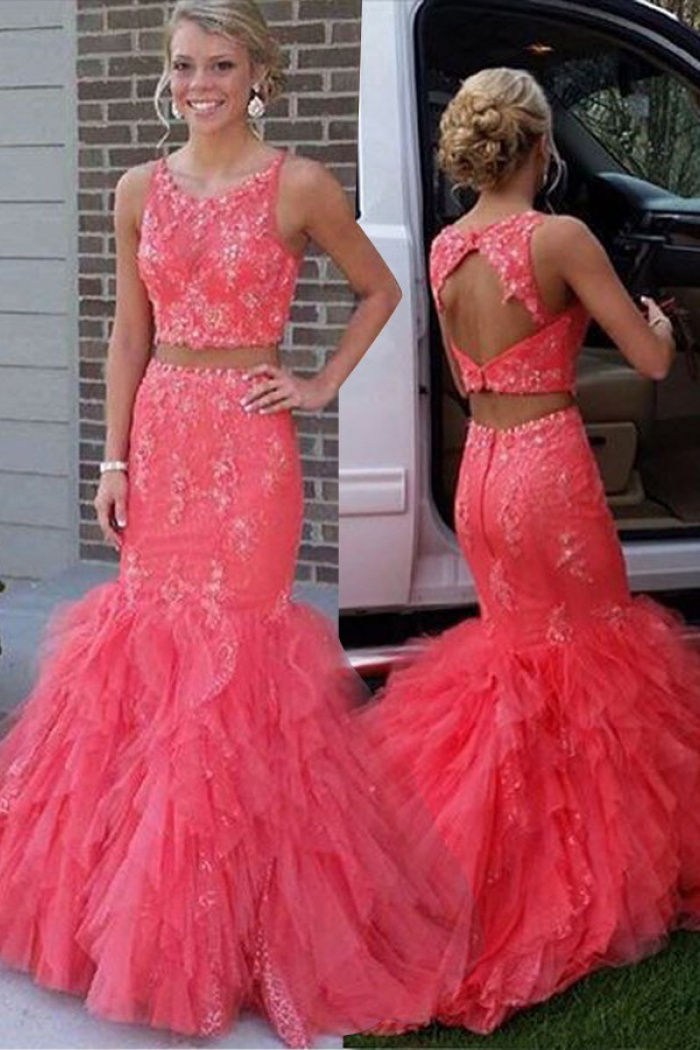 8177ee0c1bb4 Two Piece Jewel Sleeveless Tiered Train Coral Prom Dress with Beading 0