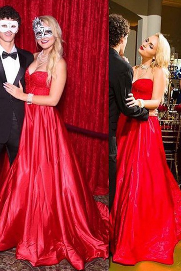 432970120b1f50 A-Line Sweetheart Sweep Train Red Elastic Satin Prom Dress with Beading 1