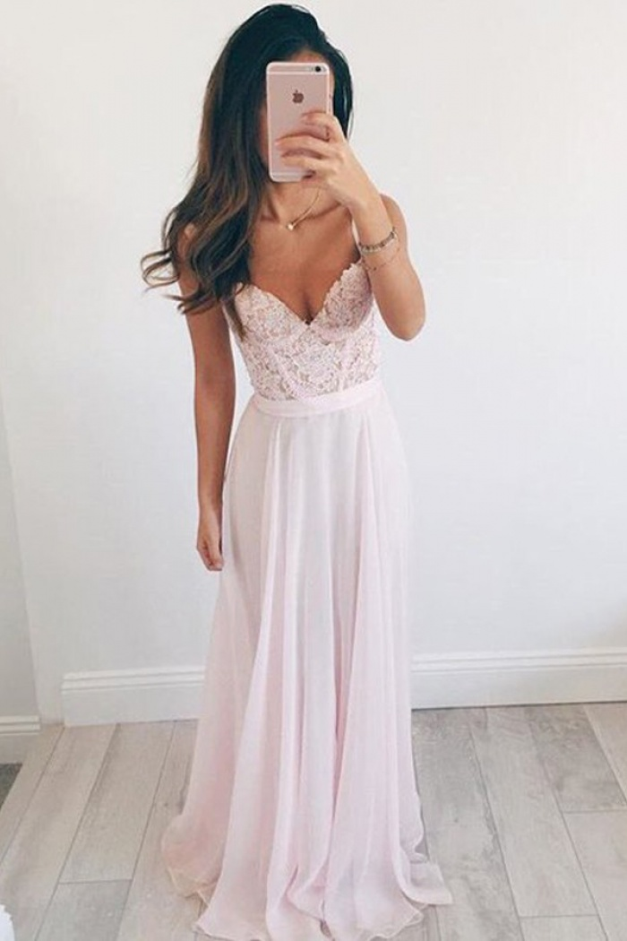 f92d6304c9e7 A-Line V-Neck Floor-Length Pearl Pink Chiffon Prom Dress with Appliques