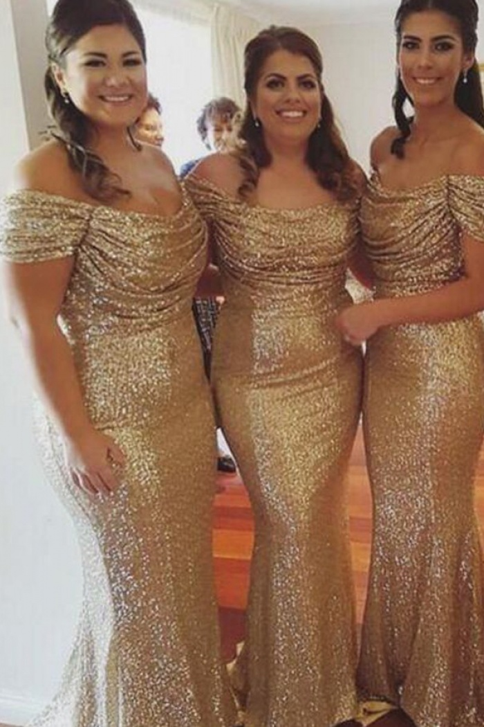 f6a249806430 Mermaid Off-the-Shoulder Short Sleeves Sweep Train Gold Sequined Prom Dress  0