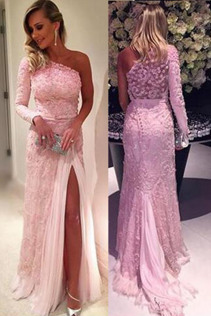 Stylish One Shoulder Long Sleeve Sweep Train Pink Lace Prom Dress