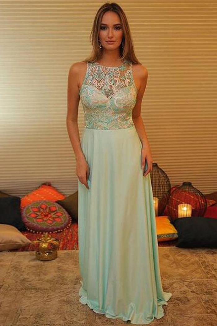 b1f0f6ac6a69 Simple Jewel Sleeveless Long Mint Chiffon Satin Prom Dress with Lace Top 0