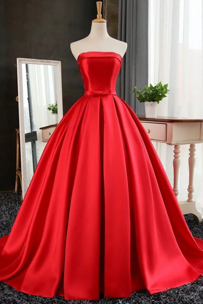362095464194 A-Line Strapless Sweep Train Red satin Prom Dress with Bowknot ...