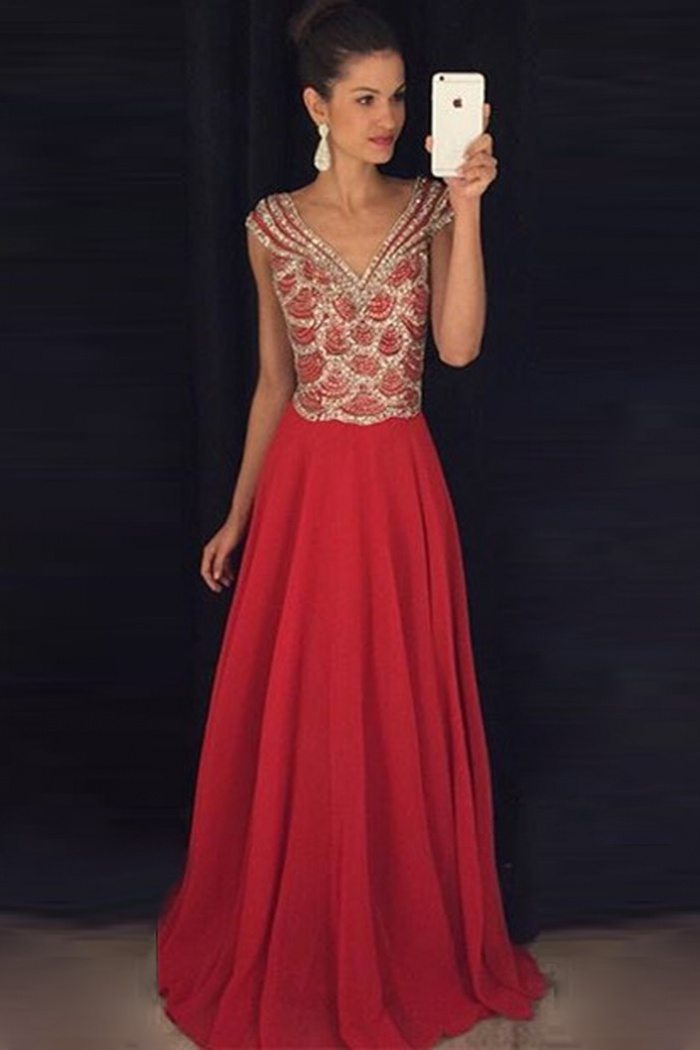 bc84cef8158c1 A-Line V-Neck Cap Sleeves Floor-Length Red Chiffon Prom Dress with ...