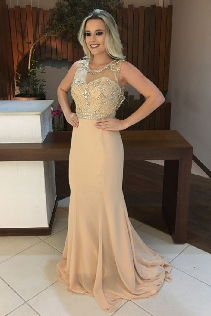f4a9087c456f Mermaid Scoop Sweep Train Open Back Champagne Chiffon Prom Dress with  Beading 0