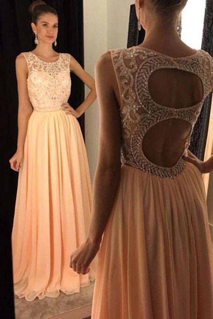 78ecdaa4a330f A-Line Round Floor-Length Open Back Peach Chiffon Prom Dress with Beading 0